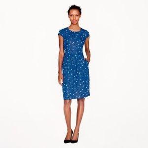 J. Crew Blue Silk Abstract Dot Cap Sleeve Dress